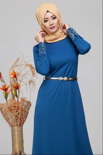 - Kol Ve Etek Ucu Varak İşlemeli Tesettür Elbise-4001 Mavi (1)
