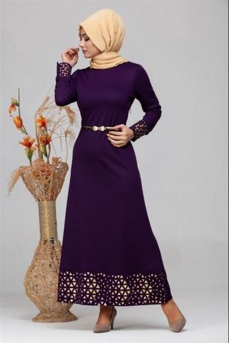 - Kol Ve Etek Ucu Varak İşlemeli Tesettür Elbise-4001 Mor