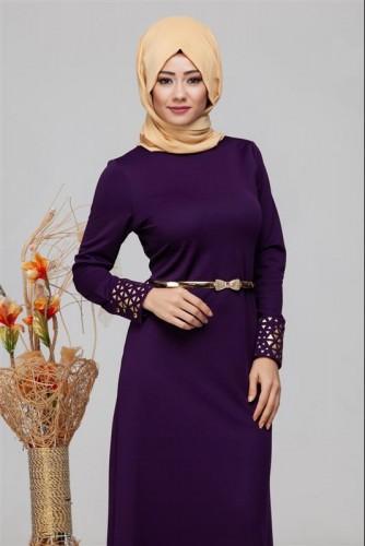 - Kol Ve Etek Ucu Varak İşlemeli Tesettür Elbise-4001 Mor (1)
