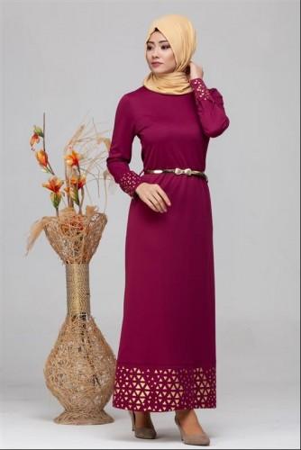 - Kol Ve Etek Ucu Varak İşlemeli Tesettür Elbise-4001 Şarabi