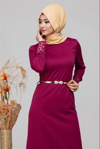 - Kol Ve Etek Ucu Varak İşlemeli Tesettür Elbise-4001 Şarabi (1)