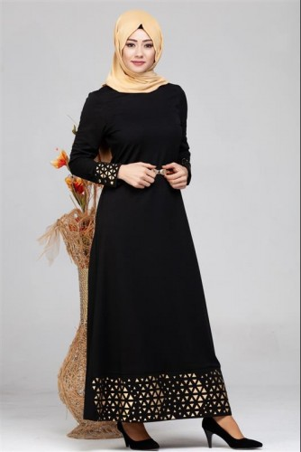 - Kol Ve Etek Ucu Varak İşlemeli Tesettür Elbise-4001 Siyah