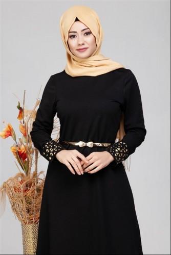 - Kol Ve Etek Ucu Varak İşlemeli Tesettür Elbise-4001 Siyah (1)