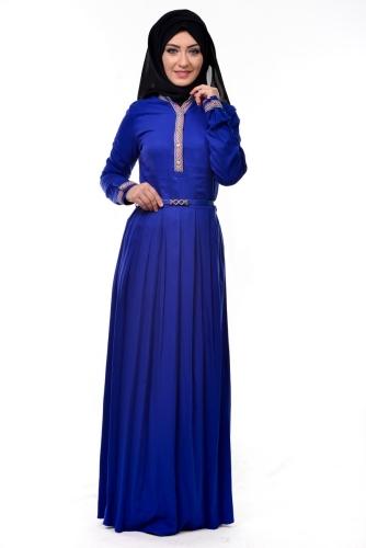- Kol Ve Göğüs Nakış İşlemeli Elbise Saks Mavisi-3318