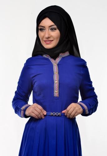 - Kol Ve Göğüs Nakış İşlemeli Elbise Saks Mavisi-3318 (1)
