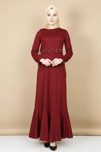 Modaebva - Kol ve Kemer İnci Detaylı Elbise -Mürdüm00110