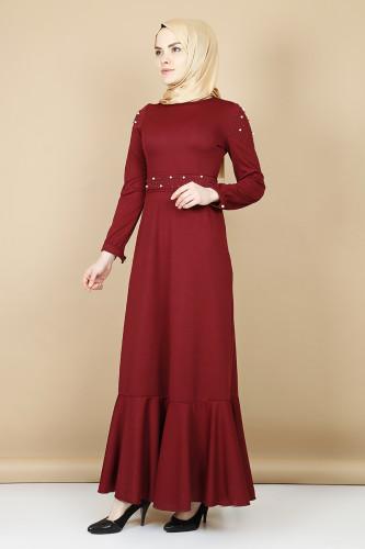 Modaebva - Kol ve Kemer İnci Detaylı Elbise -Mürdüm00110 (1)