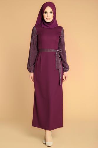 Modaebva - Kol Ve Kemer Sim Detay Tesettür Elbise-3005 Mürdüm
