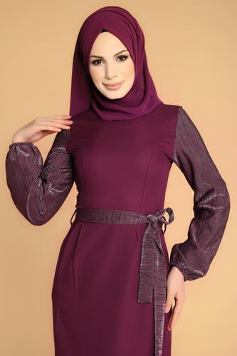 Modaebva - Kol Ve Kemer Sim Detay Tesettür Elbise-3005 Mürdüm (1)