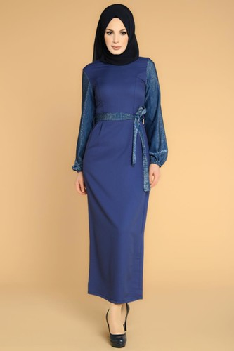 Modaebva - Kol Ve Kemer Sim Detay Tesettür Elbise-3005 İndigo