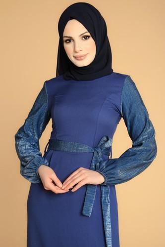 Modaebva - Kol Ve Kemer Sim Detay Tesettür Elbise-3005 İndigo (1)