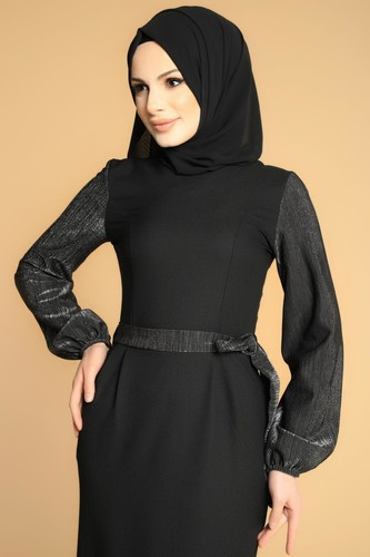Modaebva - Kol Ve Kemer Sim Detay Tesettür Elbise-3005 Siyah (1)