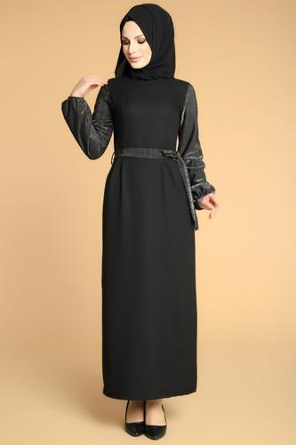 Modaebva - Kol Ve Kemer Sim Detay Tesettür Elbise-3005 Siyah