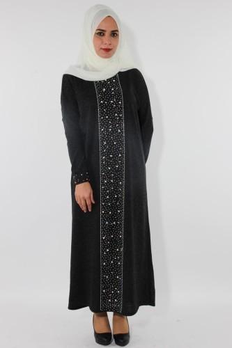 Modaebva - Kol ve Ön İnci Detay Triko elbise-Füme0575
