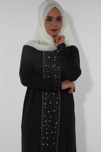 Modaebva - Kol ve Ön İnci Detay Triko elbise-Füme0575 (1)