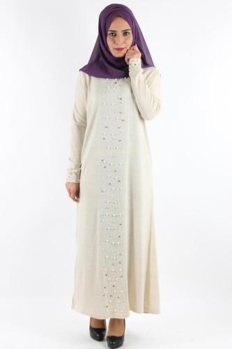 - Kol ve Ön İnci Detay Triko elbise-Krem0575