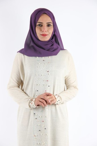 - Kol ve Ön İnci Detay Triko elbise-Krem0575 (1)