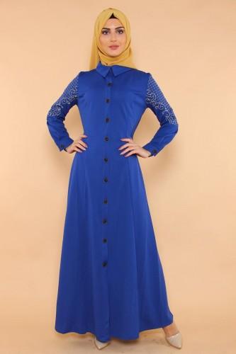 - Kolları Nakış İşlemeli Ferace-3596 Mavi