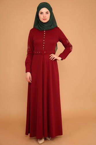 Modaebva - Kolları Nakışlı Kemerli Elbise-3544Bordo
