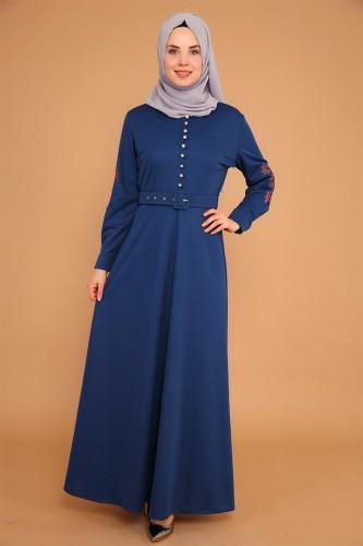 - Kolları Nakışlı Kemerli Elbise-3544İndigo