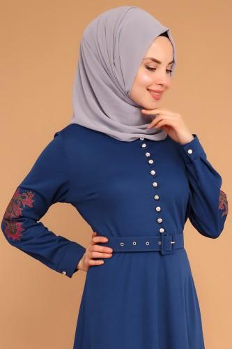 - Kolları Nakışlı Kemerli Elbise-3544İndigo (1)