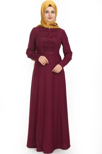 Modaebva - Kolları Sık Düğmeli Broşlu Elbise-Mürdüm0078