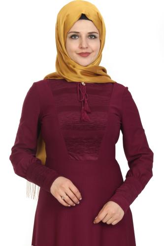 Modaebva - Kolları Sık Düğmeli Broşlu Elbise-Mürdüm0078 (1)