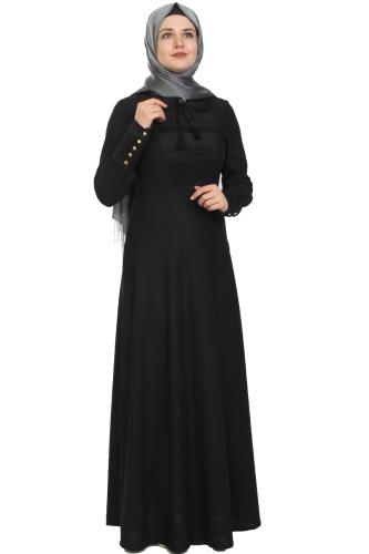Modaebva - Kolları Sık Düğmeli Broşlu Elbise-Siyah0078