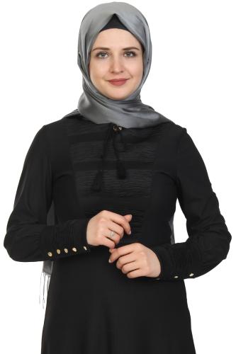 Modaebva - Kolları Sık Düğmeli Broşlu Elbise-Siyah0078 (1)