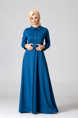 - Kolları Sık Düğmeli Kemerli Elbise-0631 Mavi