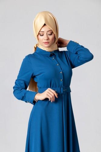 - Kolları Sık Düğmeli Kemerli Elbise-0631 Mavi (1)