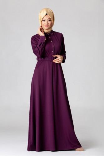 - Kolları Sık Düğmeli Kemerli Elbise-0631 Mor