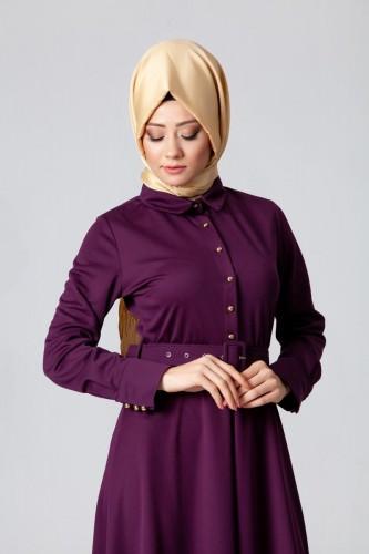 - Kolları Sık Düğmeli Kemerli Elbise-0631 Mor (1)