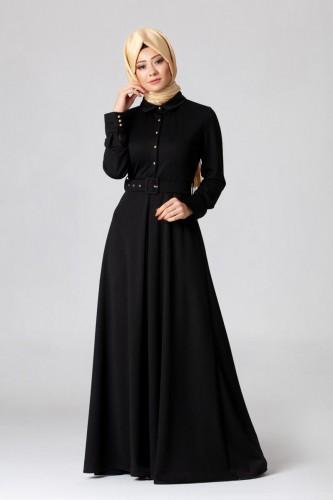 - Kolları Sık Düğmeli Kemerli Elbise-0631 Siyah