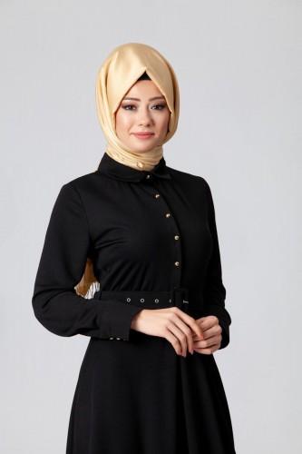 - Kolları Sık Düğmeli Kemerli Elbise-0631 Siyah (1)