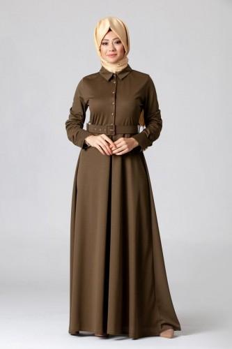 - Kolları Sık Düğmeli Kemerli Elbise-0631Hakiyeşil
