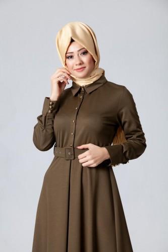 - Kolları Sık Düğmeli Kemerli Elbise-0631Hakiyeşil (1)