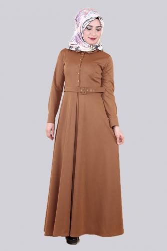 Modaebva - Kolları Sık Düğmeli Kemerli Elbise-0631Kahve