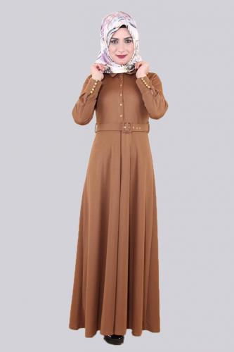 Modaebva - Kolları Sık Düğmeli Kemerli Elbise-0631Kahve (1)