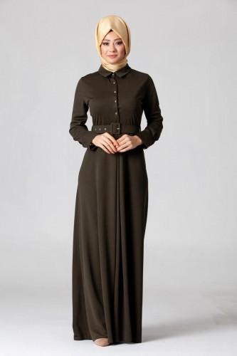 - Kolları Sık Düğmeli Kemerli Elbise-0631Yeşil