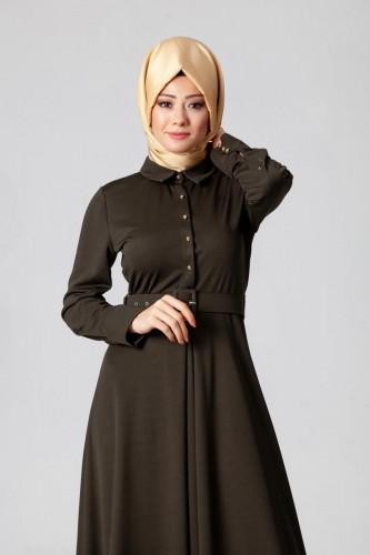- Kolları Sık Düğmeli Kemerli Elbise-0631Yeşil (1)