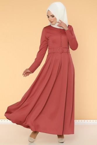 - Kolları Sık Düğmeli Tesettür Elbise-3538 Gülkurusu