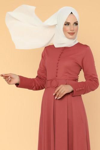 - Kolları Sık Düğmeli Tesettür Elbise-3538 Gülkurusu (1)
