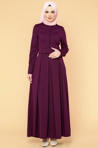 Modaebva - Kolları Sık Düğmeli Tesettür Elbise-3538 Mürdüm
