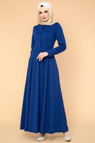 Modaebva - Kolları Sık Düğmeli Tesettür Elbise-3538 Saks Mavisi