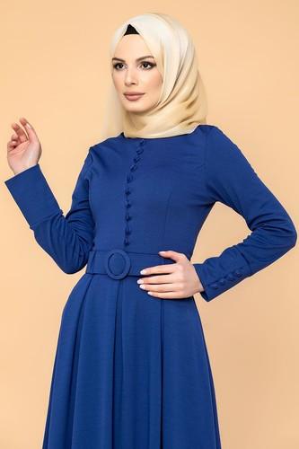 Modaebva - Kolları Sık Düğmeli Tesettür Elbise-3538 Saks Mavisi (1)