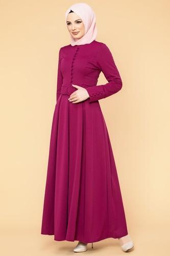 Modaebva - Kolları Sık Düğmeli Tesettür Elbise-3538 Şarabi