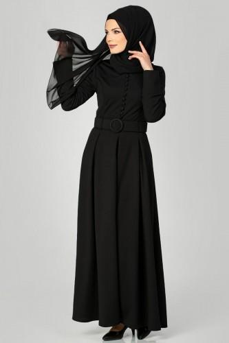 Modaebva - Kolları Sık Düğmeli Tesettür Elbise-3538 Siyah