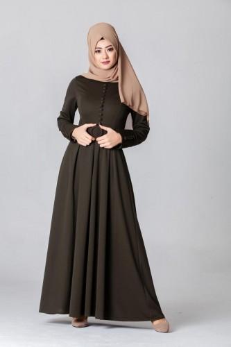 - Kolları Sık Düğmeli Tesettür Elbise-3538Hakiyeşil
