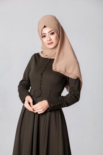 - Kolları Sık Düğmeli Tesettür Elbise-3538Hakiyeşil (1)